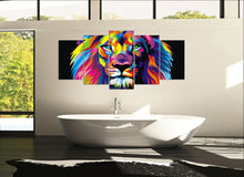 Load image into Gallery viewer, Colorful Lion 5 Panels Wood N Canvas Wall Art Paintings