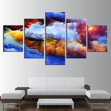 Colorful Space 5 Panels Wood N Canvas Wall Art Paintings