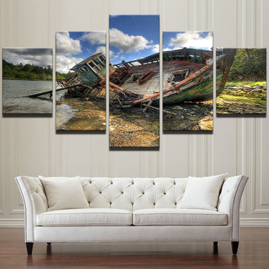 Cool Fishing Boat Seascape 5 Panel Wall Art Canvas Painting 5 Panels Wood N Canvas Wall Art Paintings