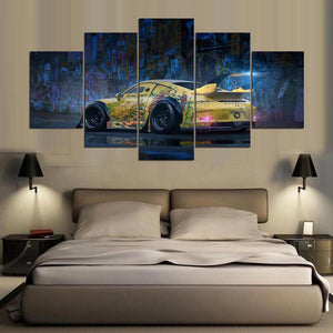 Cool Sport car 5 Panels Wood N Canvas Wall Art Paintings