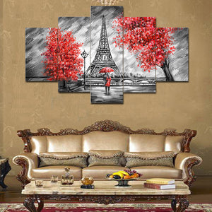 Couple At Eiffel Tower 5 Panels Wood N Canvas Wall Art Paintings