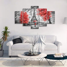 Load image into Gallery viewer, Couple At Eiffel Tower 5 Panels Wood N Canvas Wall Art Paintings