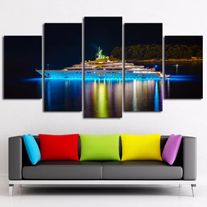 Cruise Ship-1 5 Panels Wood N Canvas Wall Art Paintings