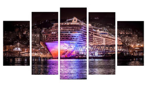 Cruise Ship-2 5 Panels Wood N Canvas Wall Art Paintings