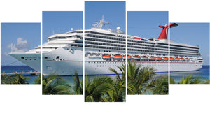 Cruise Ship 5 Panels Wood N Canvas Wall Art Paintings
