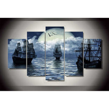 Load image into Gallery viewer, Cuadros Decoracion Boat seaview 5 Panels Wood N Canvas Wall Art Paintings