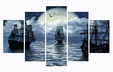 Cuadros Decoracion Boat seaview 5 Panels Wood N Canvas Wall Art Paintings