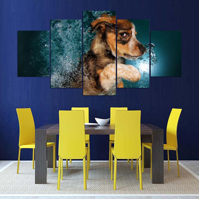 Cute Animal 5 Panels Wood N Canvas Wall Art Paintings