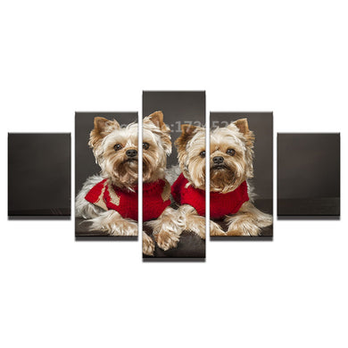 Cute Dog-1 5 Panels Wood N Canvas Wall Art Paintings