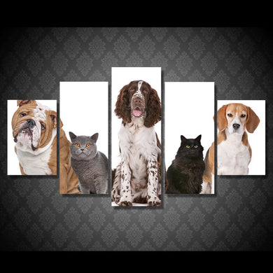Cute Dogs 5 Panels Wood N Canvas Wall Art Paintings