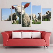 Load image into Gallery viewer, Cute Little Sheep Animals Cartoon 5 Panel Wall Art Canvas Painting