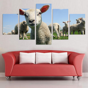 Cute Little Sheep Animals Cartoon 5 Panel Wall Art Canvas Painting
