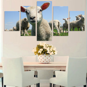 Cute Little Sheep Animals Cartoon 5 Panel Wall Art Canvas Painting 5 Panels Wood N Canvas Wall Art Paintings