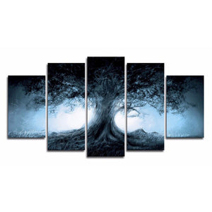 Dark Forest 5 Panels Wood N Canvas Wall Art Paintings