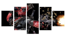 Load image into Gallery viewer, Deadpool Mask Gun Automatic 5 Panels Wood N Canvas Wall Art Paintings