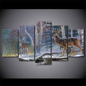 Deer-3 5 Panels Wood N Canvas Wall Art Paintings