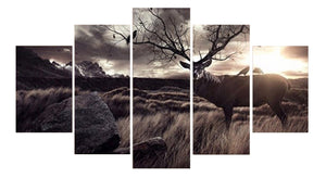 Calligraphy Animal Scenery Deer 5 Panel Wall Art Canvas Painting 5 Panels Wood N Canvas Wall Art Paintings