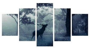 Deer Shadow 5 Panels Wood N Canvas Wall Art Paintings