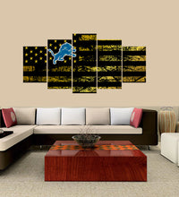 Load image into Gallery viewer, Detroit Lions logo 5 Panels Wood N Canvas Wall Art Paintings