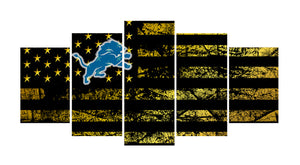 Detroit Lions logo 5 Panels Wood N Canvas Wall Art Paintings