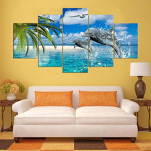 Load image into Gallery viewer, Dolphin 5 Panels Wood N Canvas Wall Art Paintings