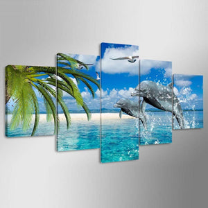 Dolphin 5 Panels Wood N Canvas Wall Art Paintings