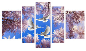 Dove Trilogy 5 Panels Wood N Canvas Wall Art Paintings