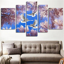 Load image into Gallery viewer, Dove Trilogy 5 Panels Wood N Canvas Wall Art Paintings