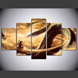 Dragon Ball Animated 5 Panels Wood N Canvas Wall Art Paintings