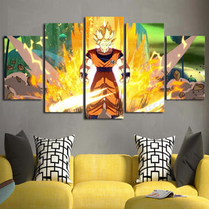 Son Goku 5 Panels Wood N Canvas Wall Art Paintings
