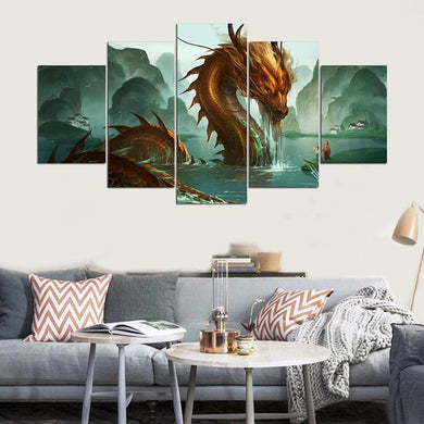 Movie Dragon 5 Panels Wood N Canvas Wall Art Paintings