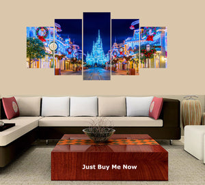 Dreamy Castle 5 Panels Wood N Canvas Wall Art Paintings