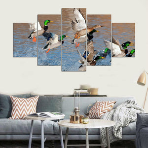 Duck Hunting 5 Panels Wood N Canvas Wall Art Paintings