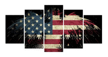 Load image into Gallery viewer, Eagle Flag Tableau 5 Panels Wood N Canvas Wall Art Paintings