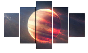 Earth Space Moon Planet 5 Panels Wood N Canvas Wall Art Paintings