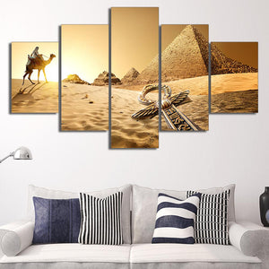 Egyptian Pyramids 5 Panels Wood N Canvas Wall Art Paintings