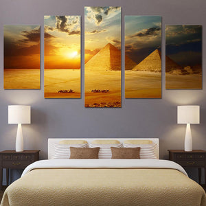 Egyptian Pyramids Sunset 5 Panels Wood N Canvas Wall Art Paintings