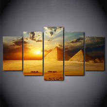 Load image into Gallery viewer, Egyptian Pyramids Sunset 5 Panels Wood N Canvas Wall Art Paintings