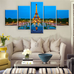 Eiffel Tower 5 Panel Wall Art Canvas Painting 5 Panels Wood N Canvas Wall Art Paintings