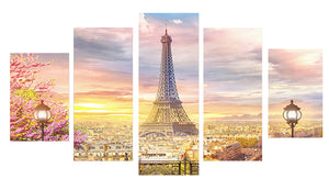 Eiffel Tower Flower 5 Panels Wood N Canvas Wall Art Paintings