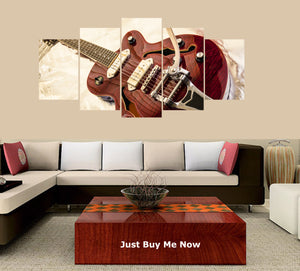 Electric Guitar 5 Panels Wood N Canvas Wall Art Paintings