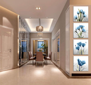 Elegant Tulip Flower 4 Panels Wood N Canvas Wall Art Paintings
