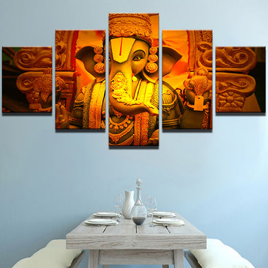 Elephant God Ganesha 5 Panels Wood N Canvas Wall Art Paintings