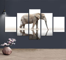 Load image into Gallery viewer, Elephant Reflection 5 Panels Wood N Canvas Wall Art Paintings
