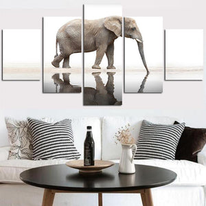 Elephant Reflection 5 Panels Wood N Canvas Wall Art Paintings