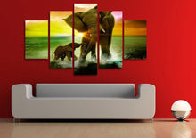 Load image into Gallery viewer, Elephant Sunrise 5 Panels Wood N Canvas Wall Art Paintings