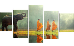 Elephant & Monks 5 Panels Wood N Canvas Wall Art Paintings