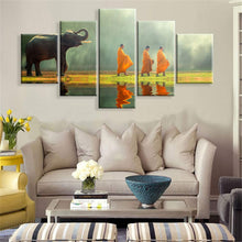 Load image into Gallery viewer, Elephant & Monks 5 Panels Wood N Canvas Wall Art Paintings