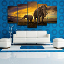 Load image into Gallery viewer, Elephant by the Sunrise 5 Panels Wood N Canvas Wall Art Paintings