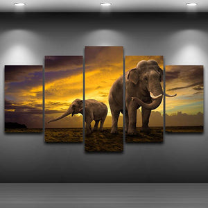 Elephant by the Sunrise 5 Panels Wood N Canvas Wall Art Paintings
